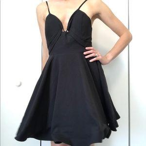 NWT Tea & Cup Fit Flare Hoop Skirt Black Dress S